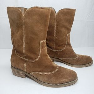 American Eagle Brown Western Style Suede Boots 7.5
